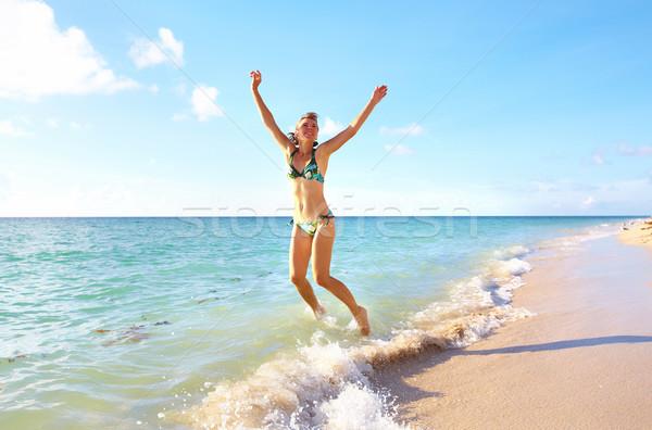счастливым женщину Майами пляж работает отпуск Сток-фото © Kurhan