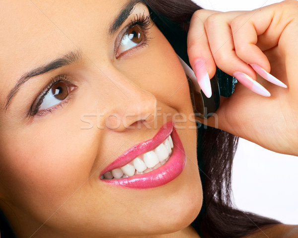 Kobieta komórkowej atrakcyjny młoda kobieta wzywając telefon komórkowy Zdjęcia stock © Kurhan
