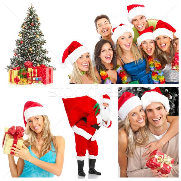 Zdjęcia stock: Christmas · młodych · szczęśliwych · ludzi · choinka · odizolowany · biały