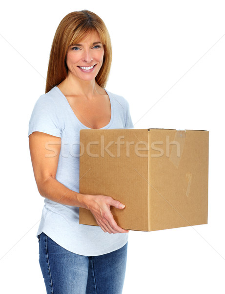 Woman with a moving box. Stock photo © Kurhan