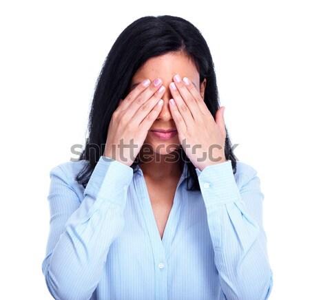 Photo stock: Femme · cacher · visage · mains · jeune · femme · isolé