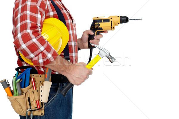 Stock fotó: építész · ezermester · fúró · kalapács · építkezés · szerszámok