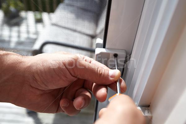 Drzwi blokady instalacja ręce śrubokręt Zdjęcia stock © Kurhan