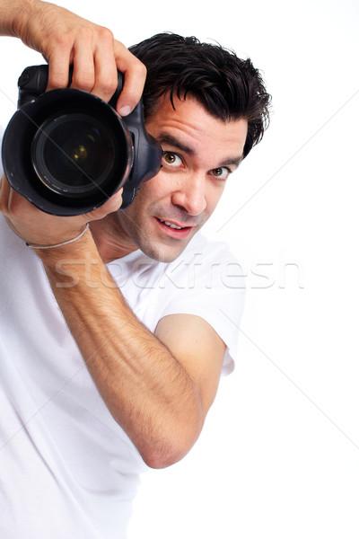Fotograf przystojny uśmiechnięty człowiek odizolowany biały Zdjęcia stock © Kurhan
