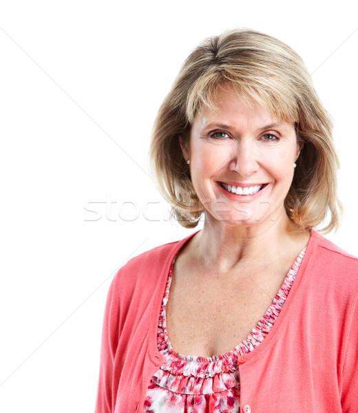 ストックフォト: シニア · 女性 · 笑みを浮かべて · 健康 · 女性 · 白