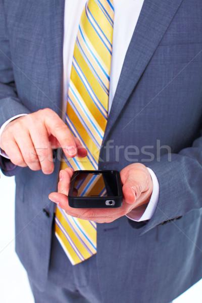 Сток-фото: бизнесмен · призыв · телефон · изолированный · белый · бизнеса