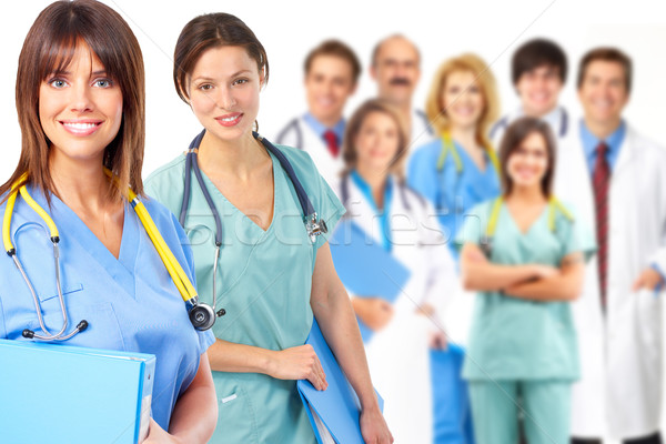 Csoport orvosi orvos fehér egészség háttér Stock fotó © Kurhan