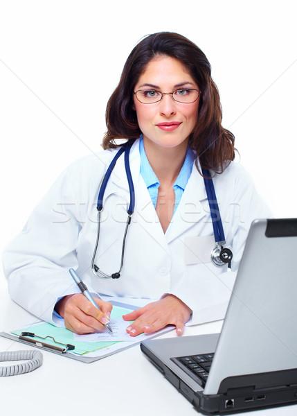 Stok fotoğraf: Tıbbi · doktor · kadın · dizüstü · bilgisayar · sağlık · iş
