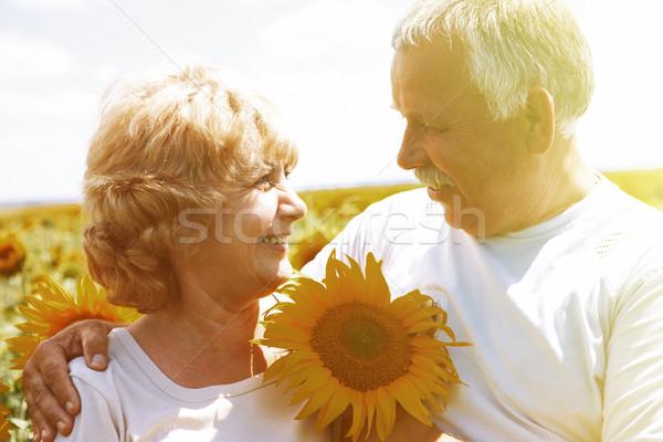 Boldog idős idős pár szórakozás együtt park Stock fotó © Kurhan