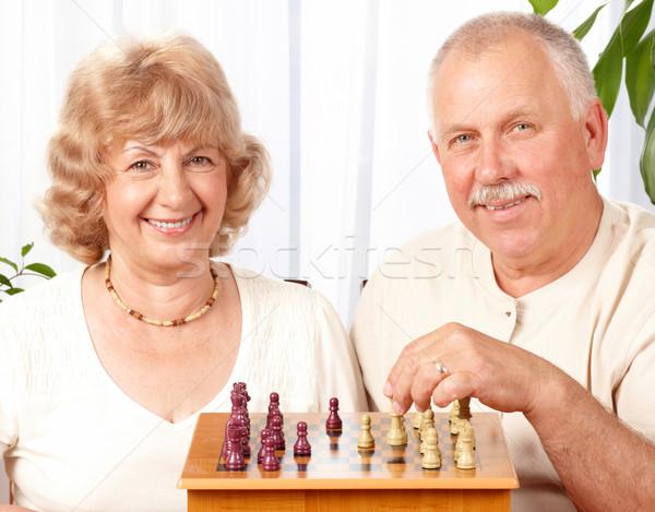 Stok fotoğraf: Oynama · satranç · ev · kadın · aile