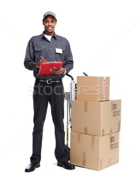 Postbode geïsoleerd witte werk vrachtwagen zakenman Stockfoto © Kurhan
