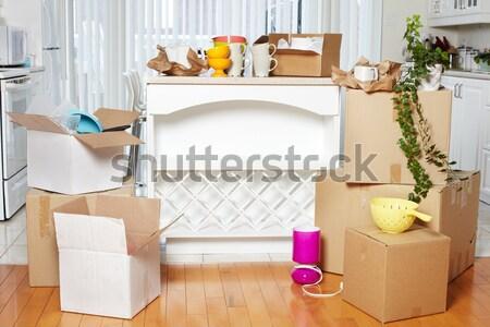 Költözködő dobozok új ház új lakás ház konyha Stock fotó © Kurhan