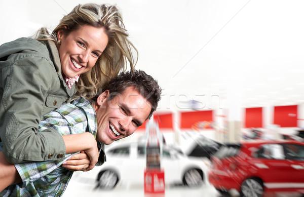 счастливым пару Новый автомобиль счастливая семья Auto Сток-фото © Kurhan