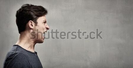 Zły człowiek furia portret ludzi twarz Zdjęcia stock © Kurhan