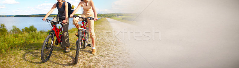Tourist cycling on bicycle Stock photo © Kurhan