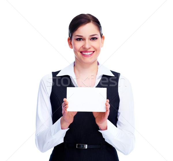 Foto d'archivio: Donna · biglietto · da · visita · isolato · bianco · business · ragazza