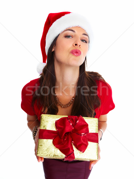 Stock photo: Christmas santa woman with gift.
