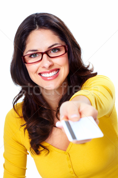 Beautiful woman with a credit card. Stock photo © Kurhan