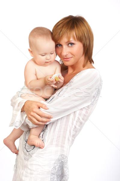Anne bebek beyaz kadın aile gülümseme Stok fotoğraf © Kurhan