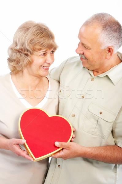 Сток-фото: пожилого · пару · счастливым · любви · изолированный · белый