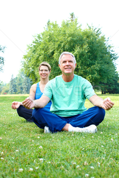 senior yoga Stock photo © Kurhan