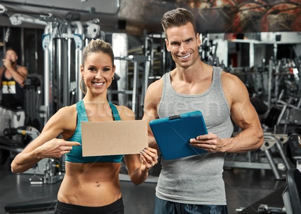 Couple in gym Stock photo © Kurhan