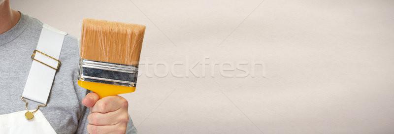 Huis schilder handen schilderij borstel Stockfoto © Kurhan