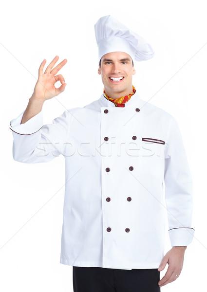 Chef homme isolé blanche Ouvrir la chapeau Photo stock © Kurhan
