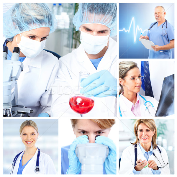 Medical doctors  in a laboratory. Collage. Stock photo © Kurhan