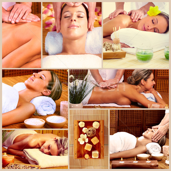 Spa massage collage détendre femme fleur Photo stock © Kurhan