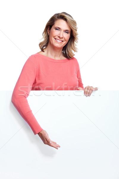 Senior woman with a banner. Stock photo © Kurhan