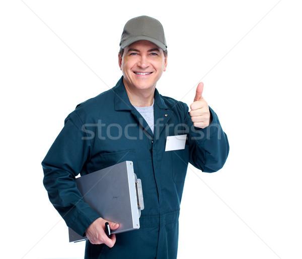 Mechanik samochodowy zawodowych odizolowany biały człowiek tle Zdjęcia stock © Kurhan