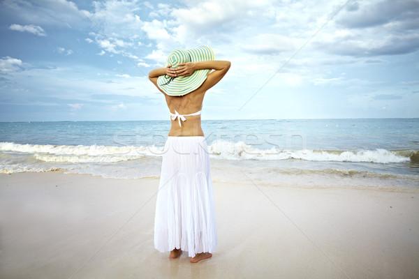 Happy woman on Punta Cana beach. Stock photo © Kurhan