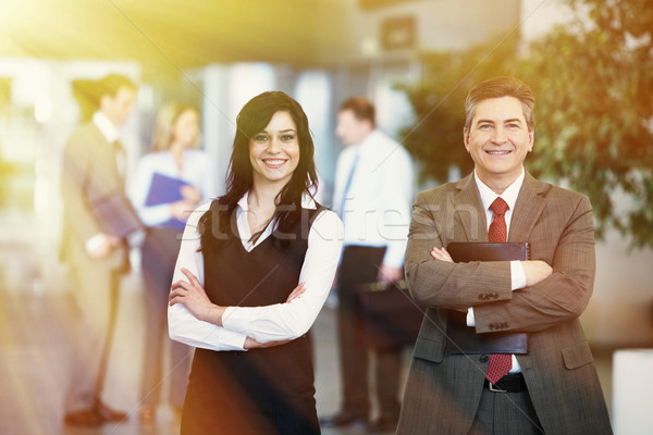 Partnerek kettő férfi nő csapat üzlet Stock fotó © Kurhan