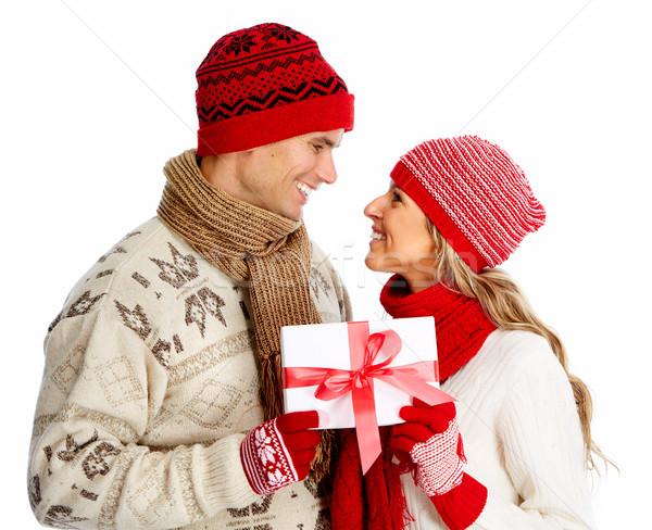 Glücklich Paar Weihnachten vorliegenden isoliert weiß Stock foto © Kurhan