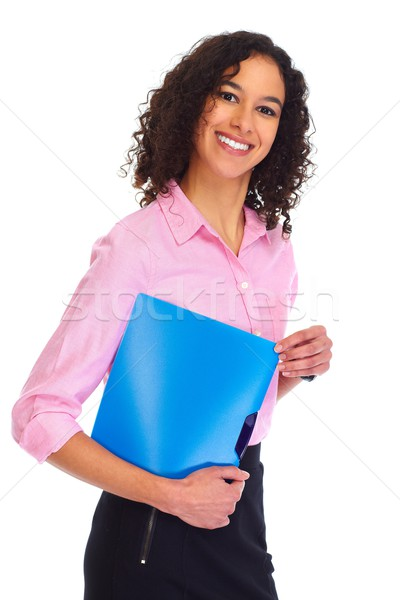 Stock photo: Young business woman isolated white.