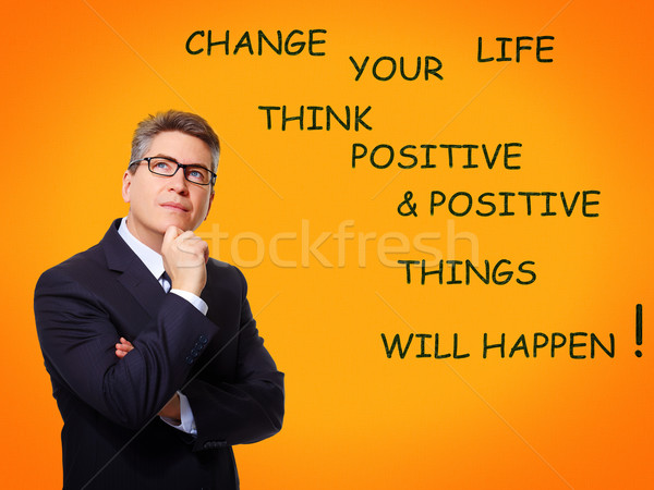 Positive thinking man over abstract background. Stock photo © Kurhan