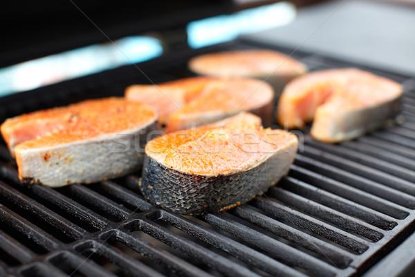 Zalm vis barbecue koken voedsel Stockfoto © Kurhan