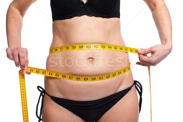 Mujer grasa abdomen sobrepeso Foto stock © Kurhan