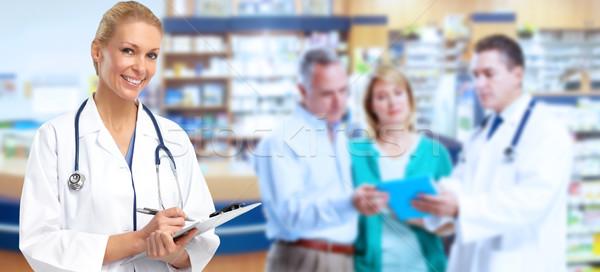 Stockfoto: Apotheker · arts · vrouw · mooie · medische · gezondheidszorg