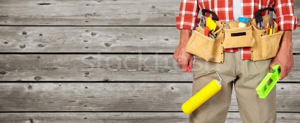 Builder tuttofare vernice costruzione strumenti legno Foto d'archivio © Kurhan