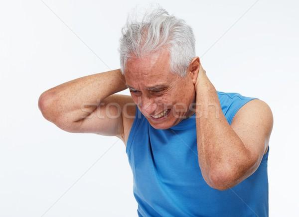 ストックフォト: 首の痛み · 高齢者 · 男 · 孤立した · 白 · うつ病