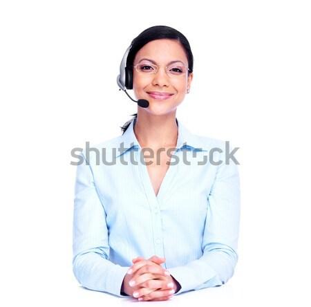 Call center operatora business woman odizolowany biały działalności Zdjęcia stock © Kurhan