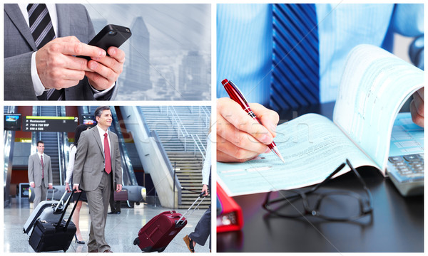 Foto stock: Pessoas · de · negócios · grupo · colagem · negócio · homem · caneta