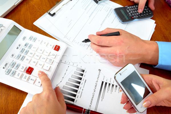 Photo stock: Gens · d'affaires · groupe · mains · travail · bureau · main