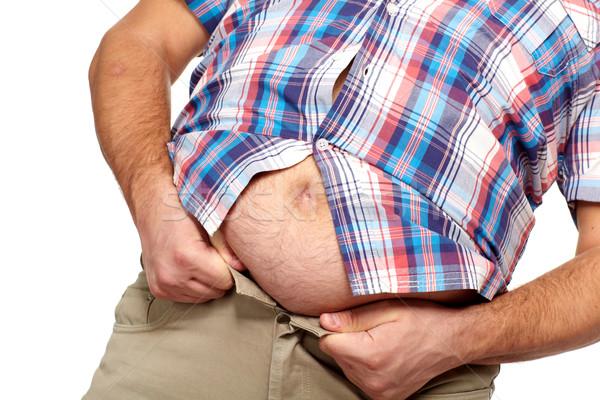 Homem gordo grande barriga dieta homem esportes Foto stock © Kurhan