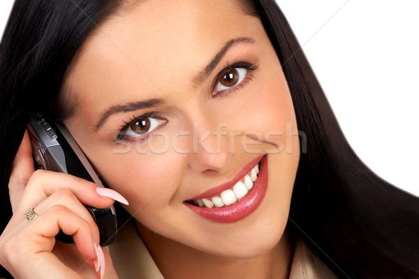 Mujer celular atractivo llamando teléfono celular Foto stock © Kurhan