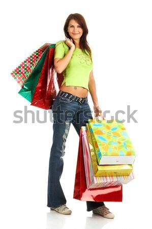 Vásárlás nők izolált fehér üzlet pénz Stock fotó © Kurhan