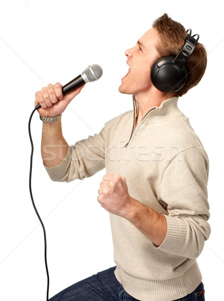 Karaoke mutlu yalıtılmış beyaz parti adam Stok fotoğraf © Kurhan