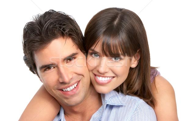 Paar liefde gelukkig glimlachend witte familie Stockfoto © Kurhan